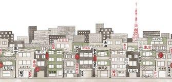Tokyo, Giappone - insegna senza cuciture dell'orizzonte di Tokyo Fotografia Stock