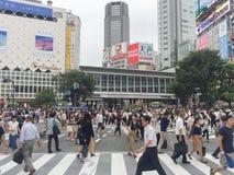 TOKYO, GIAPPONE - 26 luglio 2017: Incrocio dei pedoni all'Ass.Comm. di Shibuya Immagine Stock