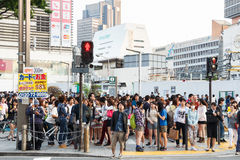 Tokyo, Giappone - 25 maggio 2014 Molta gente attraversa la via ed il semaforo Fotografia Stock Libera da Diritti