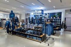 TOKYO, JAPAN - FEBRUARY 5, 2019: Tokyo Ginza Area GAP shop interior. Japan. royalty free stock photography