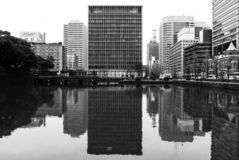 Tokyo high-rise office block - black and white. royalty free stock photos