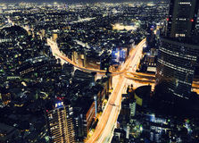 Tokyo highway junction from above. A massive highway intersection from above at night in Shinjuku, Tokyo, Japan Royalty Free Stock Photo