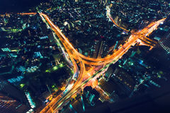 Tokyo highway junction from above. A massive highway intersection from above at night in Shinjuku, Tokyo, Japan Royalty Free Stock Photography
