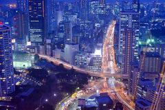 Tokyo Highways. Highways and roads in the Minato ward section of Tokyo, Japan royalty free stock photo