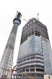 Tokyo-Himmel-Baum-Kontrollturm Lizenzfreie Stockfotografie