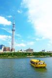 Tokyo-Himmel Baum- und Sumidafluß Stockbilder