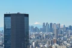 Tokyo horisont och Mt Fuji fotografering för bildbyråer