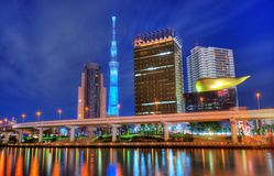 Tokyo horisont på Asakusa Arkivfoton