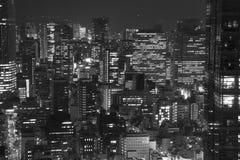 Tokyo horisonter på natten Arkivbild