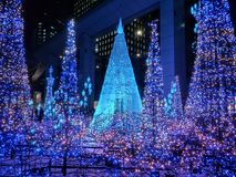 Tokyo Illuminations light up. Tokyo, Japan-December 13, 2107 : Illuminations light up at Caretta shopping mall in Shiodome district, Odaiba area. The stock image