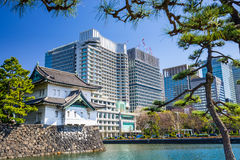 Tokyo Imperial Moat and Cityscape Stock Photos