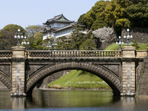 Tokyo Imperial Palace. (edo castle) with the Meganebashi Bridge Royalty Free Stock Image