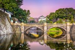 Tokyo Imperial Palace Moat. Tokyo, Japan at the Imperial Palace moat and bridge at dawn stock photo