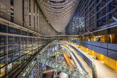 Tokyo International Forum. TOKYO - DECEMBER 16, 2012: The public hall of Tokyo International Forum. The multipurpse facility was completed in 1996 on the site of Stock Photography