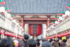 TOKYO, JAPAN - APRIL 23, 2017: Crowd people shopping at Nakamise-dori street at Senso-ji Temple (Asakusa shrine) in Tokyo, Japan. stock image