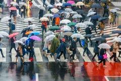 TOKYO JAPAN - APRIL 11, 2017 Folkmassa av folk som korsar Shibuya Royaltyfria Bilder