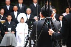Traditionellt japanskt bröllop kopplar ihop Arkivbild
