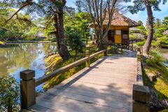 Oyakuen medicinal herb garden in the city of Aizuwakamatsu, Fukushima, Japan. TOKYO, JAPAN - APRIL 19 2018: Oyakuen medicinal herb garden first established in royalty free stock photos