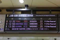 Tokyo,Japan - April 1,2015 : The signboard of Shinkansen bullet trains at Tokyo station. Stock Photos