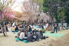 TOKYO JAPAN - APRIL 1ST, 2016: Den Tokyo folkmassan som tycker om festival för körsbärsröda blomningar i Ueno, parkerar Royaltyfri Bild