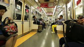 Tokyo train time lapse. Tokyo, Japan - April 17, 2017: time lapse of asian people commuter subway wagon interior. The Toei Oedo Line, a subway line in Tokyo. On stock video footage