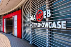 Toyota Mega Web in Odaiba in Tokyo, Japan. Tokyo, Japan - April 20 2018: Toyota Mega Web in Odaiba island is an automotive focused theme park and showroom which stock photos