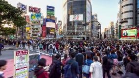 TOKYO, JAPAN - APRIL, 18, 2018: wide angle long exposure shot of shibuya crossing in tokyo