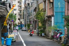 Back street with cafes and people in Chuo district Royalty Free Stock Image