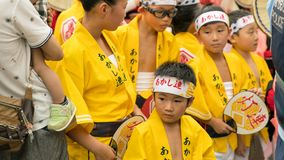 Japanese children dancing traditional Awaodori dance in the famous Koenji Awa Odori festival, Tokyo, Japan stock images