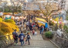 TOKYO, JAPAN - AUGUST 5 2017: Unidentified people walking near of some food markets in the streets in Tokyo. Japan royalty free stock image