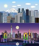 Tokyo, Japan, Azië - Dag aan Nacht Vectoruitrusting stock illustratie