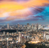 Tokyo, Japan. Beautiful aerial view of city buildings at night Stock Photography