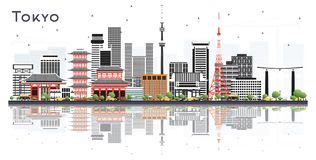 Tokyo Japan City Skyline with Color Buildings Isolated on White stock illustration