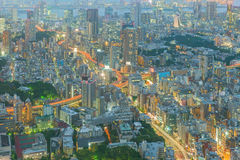 Tokyo, Japan cityscape and highways Royalty Free Stock Photo