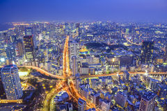 Tokyo, Japan Cityscape and Highways. Tokyo, Japan cityscape at dusk above highway junction Royalty Free Stock Photos
