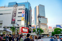 TOKYO, JAPAN: Crowds at the Shibuya, the famous fashion centers of Japan royalty free stock photo