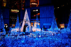 TOKYO, JAPAN - DEC 19: Illumination of the Christmas light at Shiodome Royalty Free Stock Photo