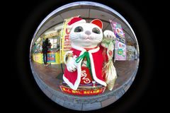 A big beckoning cat or a lucky cat in front of lottery shop. Tokyo,Japan-December 18, 2018: A big beckoning cat or a lucky cat in front of lottery shop royalty free stock photo