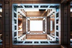Bottom view on Headquarters of Fuji TV at Odaiba island, Tokyo, Japan stock photography