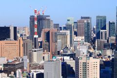 Tokyo Minato. TOKYO, JAPAN - DECEMBER 2, 2016: City architecture view of Minato ward in Tokyo. Tokyo is the capital city of Japan. 37.8 million people live in Royalty Free Stock Photo