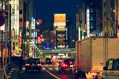 TOKYO, JAPAN - DECEMBER, 27, 2017: Colorful lighted streets in Roppongi Area, Tokyo, Japan. Royalty Free Stock Photo