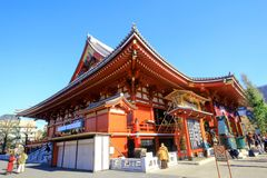 View of Sensoji temple, also known as Asakusa Kannon. Most popular for tourists and It`s the oldest Temple in Tokyo stock photos