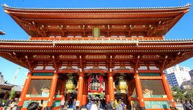 View of Sensoji temple, also known as Asakusa Kannon. Most popular for tourists and It`s the oldest Temple in Tokyo stock image