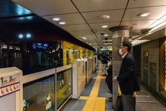 Panda platform screen doors of Tokyo metro subway Ueno station. stock image
