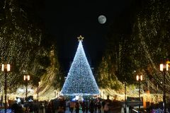 Christmas scene in Tama, Tokyo. Tokyo, Japan-December 2, 2107: People come to Tama city to watch illuminations for Christmas Stock Photos