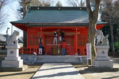 Preparation for New Year at Ono shrine, Tokyo. Tokyo,Japan-December 30, 2017: People decorate the shrine for coming New Year at One shrine, Tokyo royalty free stock images