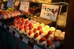 TOKYO, JAPAN - DECEMBER 2016: Strawberry Daifuku Strawberry Mochi. TOKYO, JAPAN - DECEMBER 2016: Strawberry Daifuku, Strawberry Mochi at Tsukiji Fish Market in Royalty Free Stock Photo