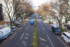 TOKYO, JAPAN AM 10. DEZEMBER 2014: Leere Straße an HARAJUKU im Frühjahr, Japan Stockbilder