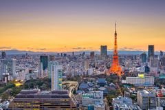 Tokyo, Japan. Dusk skyline with the tower Royalty Free Stock Photo