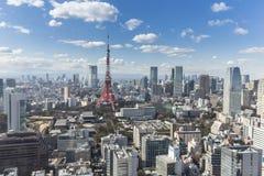 TOKYO JAPAN - 19 FEBRUARI 2015 - det Tokyo tornet i Kantoen r Arkivbilder